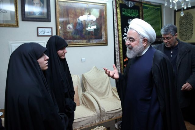 Iranian President Hassan Rouhani meets members of the Soleimani family in Tehran, 4 January