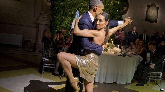 President Barack Obama dances the tango with Mora Godoy