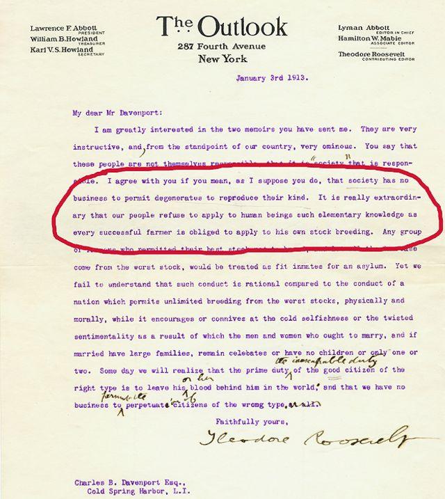 carta del autor y estadista Teodoro Roosevelt (1858-1919) al biólogo y eugenesista Charles Benedict Davenport (1866-1944).