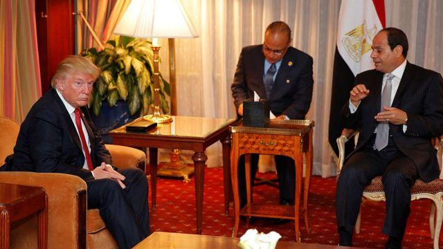 Donald Trump (left) with Abdul Fattah al-Sisi (right) in New York (Sept 2016)