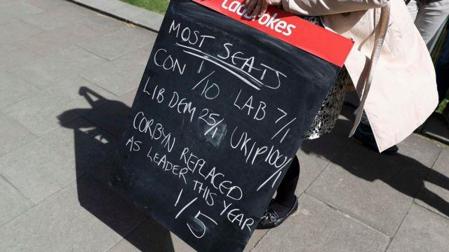 امرأة تحمل لوحة عليها توقعات نسب انتخابية أمام مبنى البرلمان البريطاني