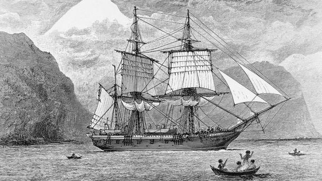 Ilustración del HMS Beagle cruzando el Estrecho de Magallanes.