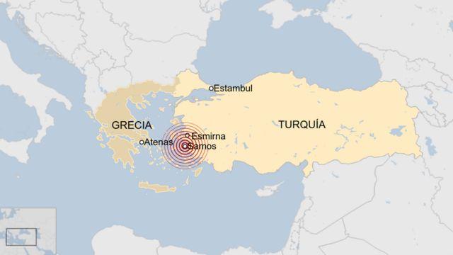 Mapa del terremoto en Turquía y Grecia.