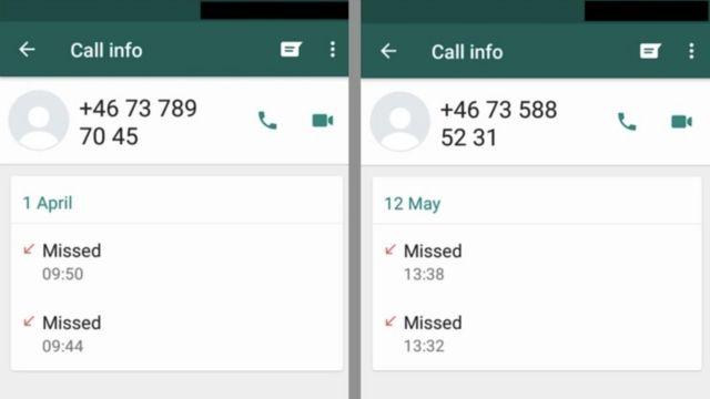 Missed calls on one genuine victim's phone.