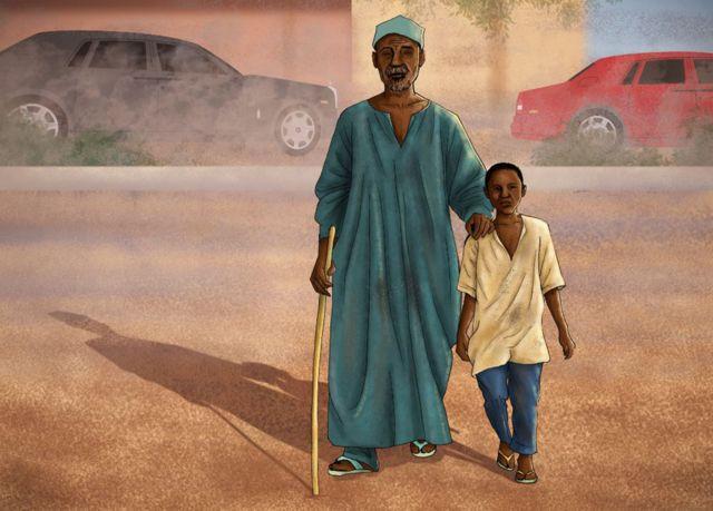 Illustration de Samuel Abdulraheem, enfant, guidant un mendiant aveugle.
