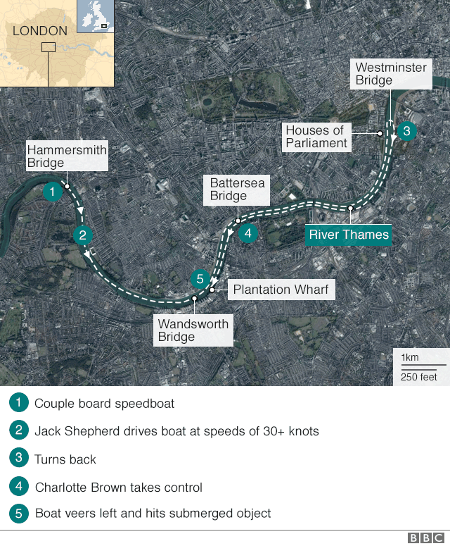 Map of the River Thames showing where the couple boarded the boat and where it crashed