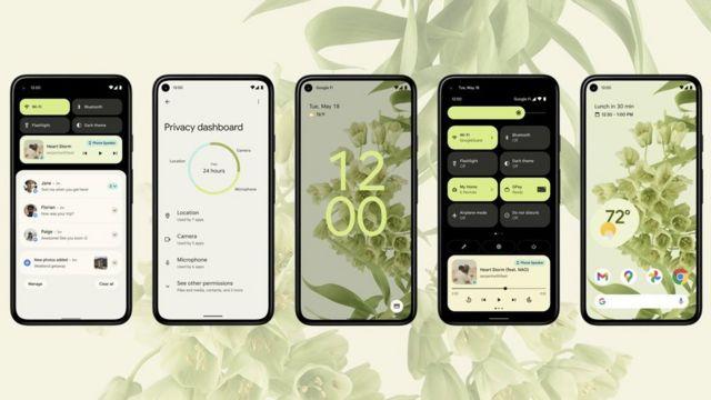 Android muestra 12 aplicaciones diferentes en un esquema de color verde.