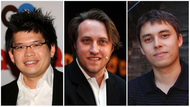 Steve Chen, Chad Hurley y Jawed Karim en tres imágenes separadas