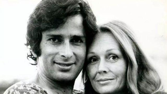 पत्नी जेनिफ़र के साथ शशि कपूर