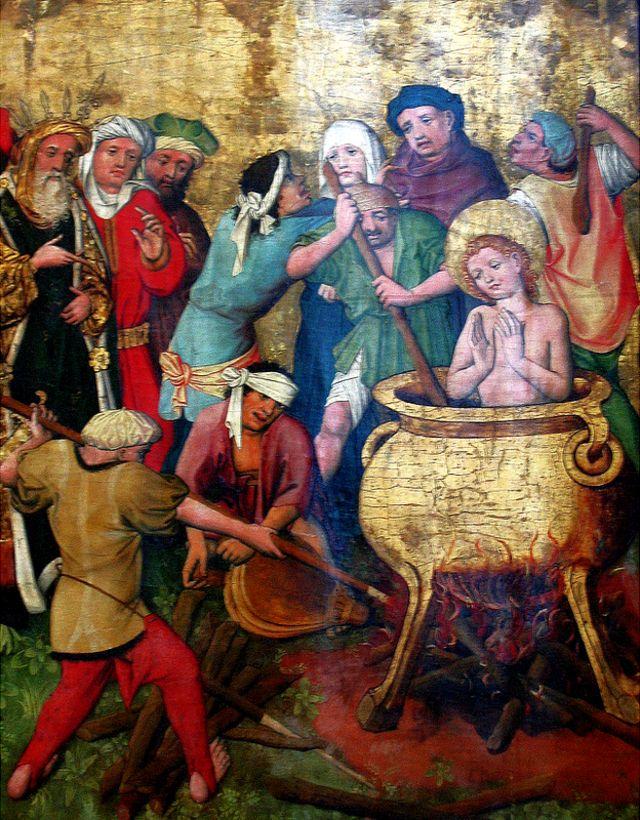 """El martirio de San Vito"", obra anónima colgada en el Museo Nacional de Varsovia, fotografiada por Maciej Szczepańczyk"
