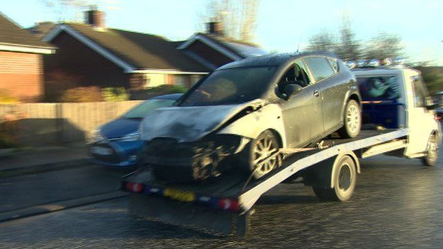 The car was parked outside a house at the Mews, on Iveagh Drive, in Banbridge when the attack happened