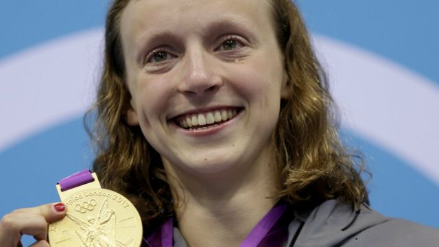 Ledecky nos Jogos de Londres, quando foi campeã