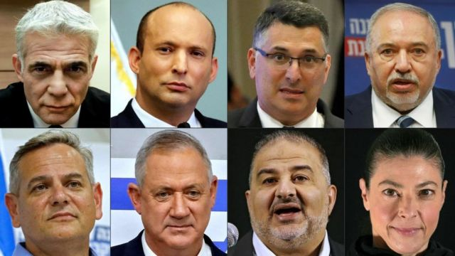 The leaders of the eight parties of the coalition.