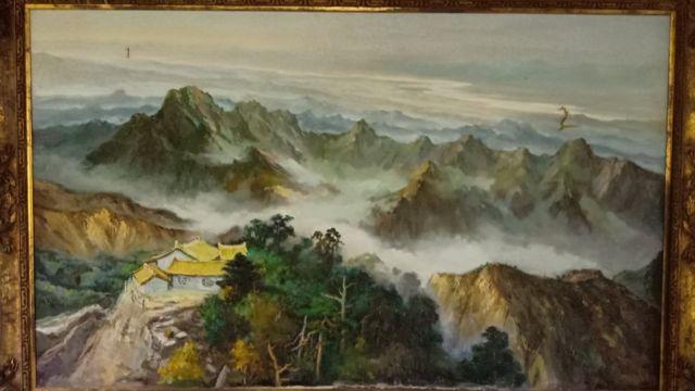 胡璉故居客廳牆壁上的華山圖