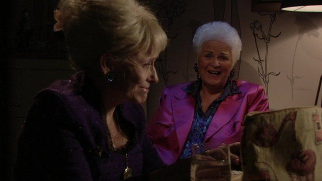Peggy Mitchell and Pat Butcher in their final scene together