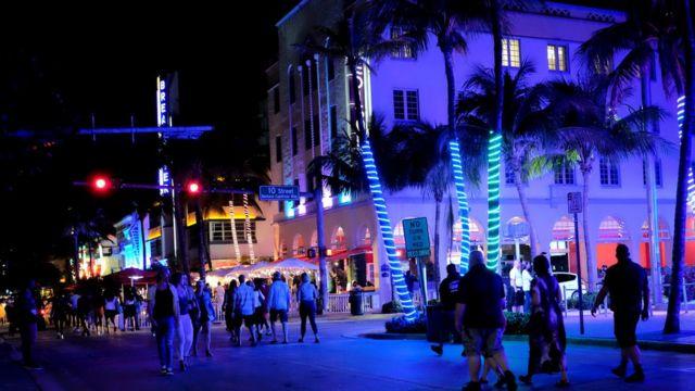 A street in Miami Beach at night