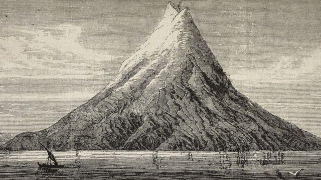 Ilustração do Krakatau antes da erupção de 1883