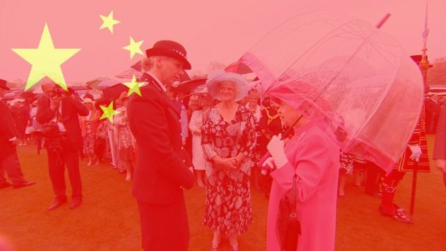 A graphic of a transparent flag of China covers an image of the moment the Queen was filmed saying Chinese officials had been rude.
