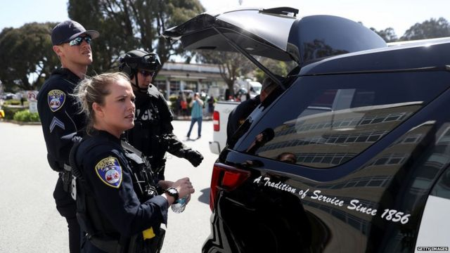 Police survey the scene outside of the YouTube headquarters on April 3, 2018 in San Bruno, California.