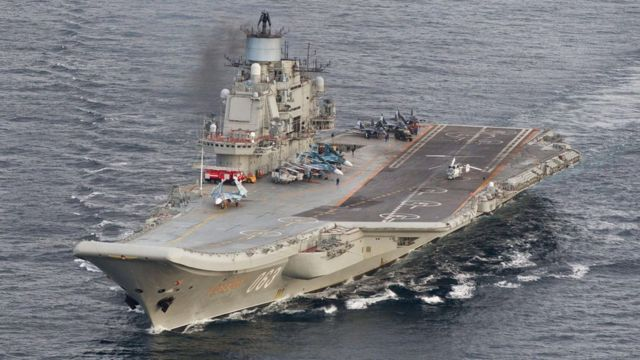 Russian aircraft carrier Admiral Kuznetsov, file image