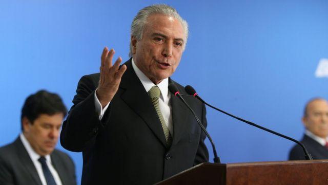 O presidente interino Michel Temer durante a posse de Marcelo Calero no Ministério da Cultura