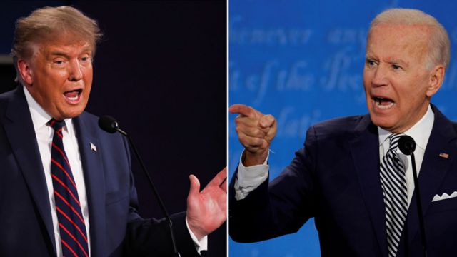 Donald Trump e Joe Biden no primeiro debate presidencial americano deste ano
