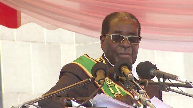 Zimbabwe's President, Robert Mugabe speaking at heroes day parade