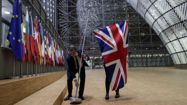 Retirada de la bandera británica en el Consejo Europeo