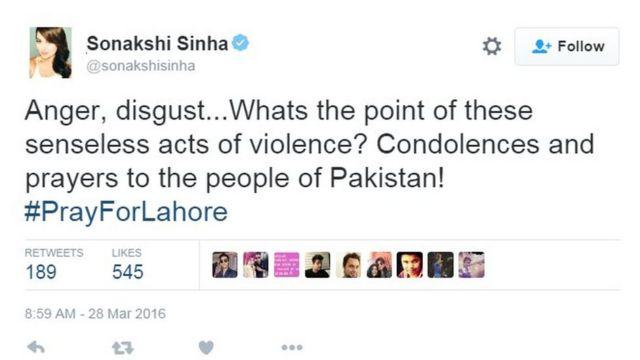 ソナクシ・シンハさんは「怒り、嫌悪感……こんな無意味な暴力行為にどういう意味が? パキスタンの人たちにお悔やみと祈りを」とツイートした