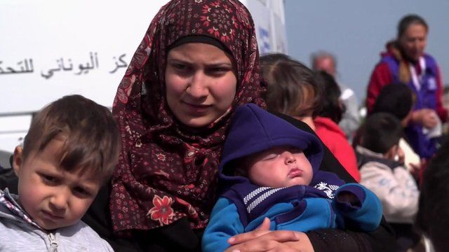 Mother and children in Lesbos