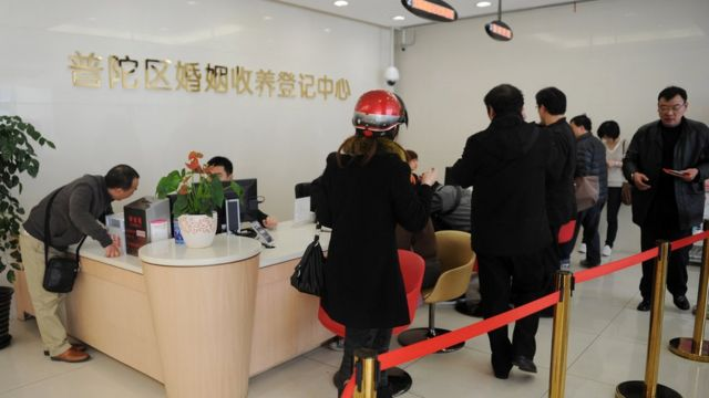 Шанхайцы в очереди за разрешением на брак или развод, Шанхай