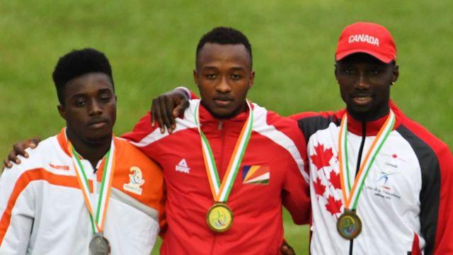 médaillés 100m masculin, jeux francophonie, abidjan 2017