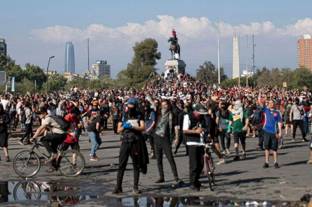 Protesters in Santiago, Chile