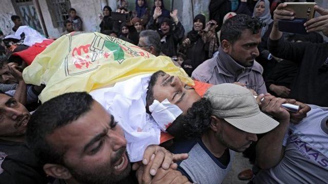 تشييع جثامين الضحايا الفلسطينيين