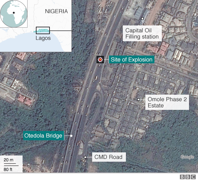 map showing site of the explosion