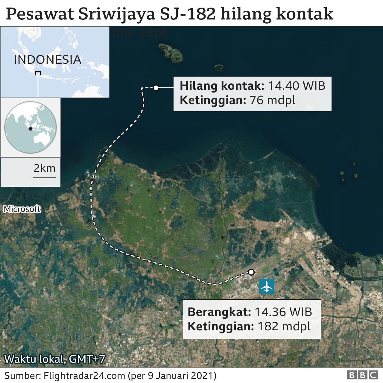 peta jatunya Sriwijaya Air