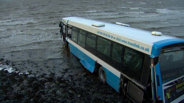 The bus crashed on the shore of Strangford Lough on Wednesday morning