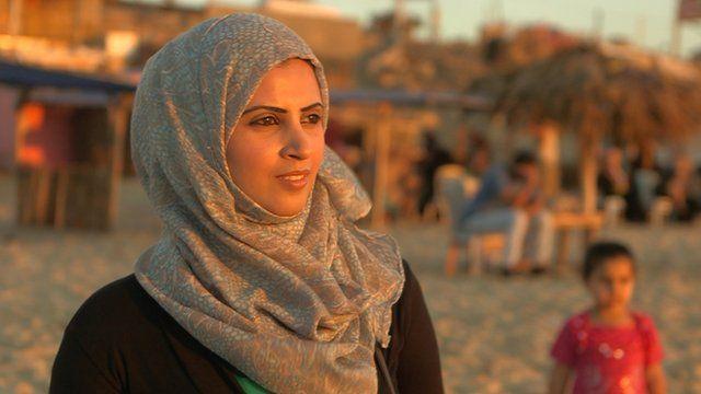 Azza Jadalla on the beach in Gaza
