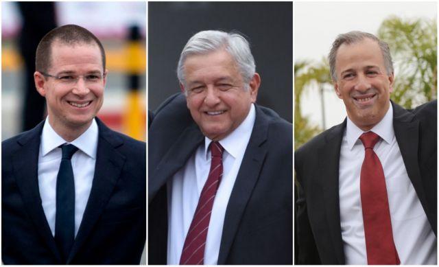 Ricardo Anaya, Andrés Manuel López Obrador y José Antonio Meade