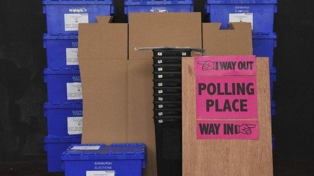 EU referendum ballot boxes in Edinburgh