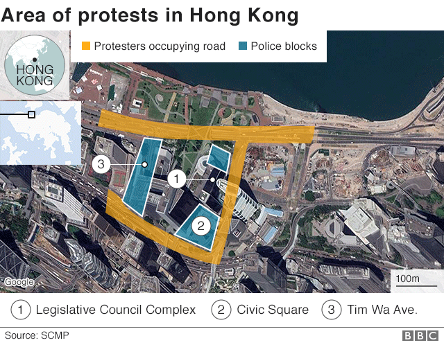 Map showing site of protests