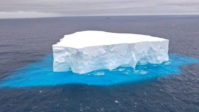 Icebergs carry material scraped from the bedrock of Antarctica