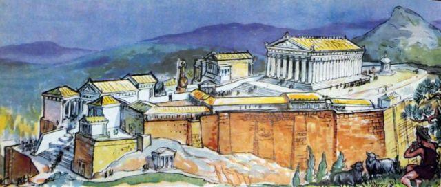 Ilustração de Atenas no século 5 da enciclopédia infantil