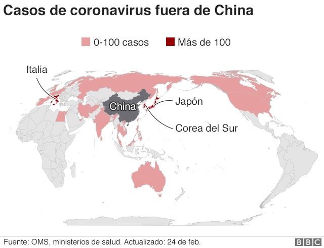 Mapa expansión casos coronavirus