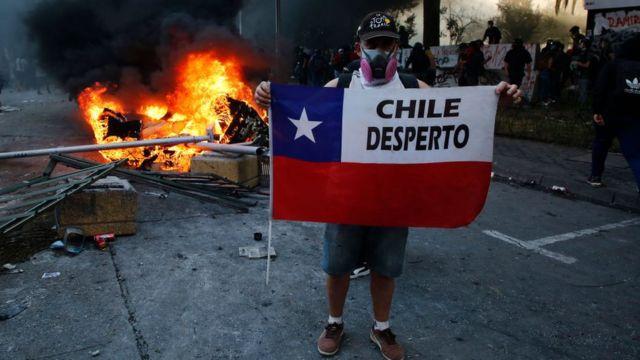 Manifestante no Chile