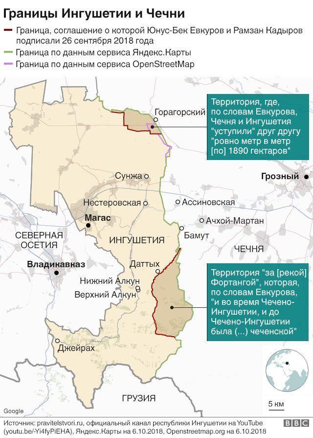 Границы Чечни и Ингушетии