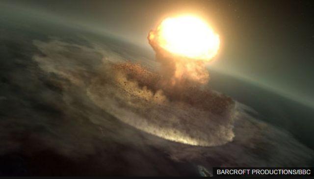 (ภาพจากฝีมือศิลปิน) พลังงานที่เกิดขึ้นจากการชนของอุกกาบาตยักษ์ เทียบเท่ากับระเบิดปรมาณูที่ทิ้งใส่เมืองฮิโรชิมะ 10,000 ล้านลูก