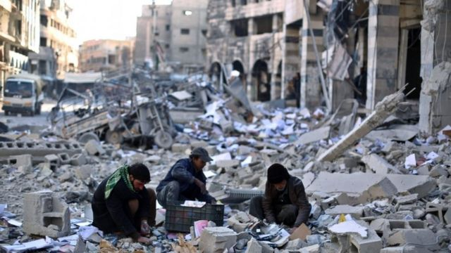 Syrians who fled to Europe left behind cities destroyed by the conflict.