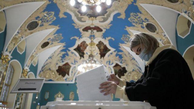 Голосование на Казанском вокзале в Москве