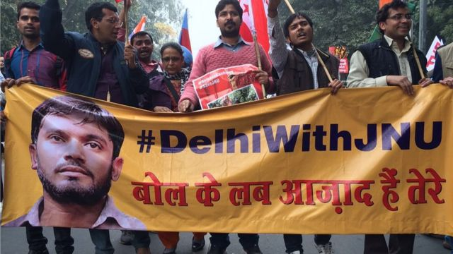 Protesters march in Delhi